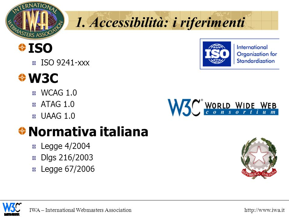 IWA – International Webmasters Association http://www.iwa.it ISO ISO 9241-xxx W3C WCAG 1.0 ATAG 1.0 UAAG 1.0 Normativa italiana Legge 4/2004 Dlgs 216/