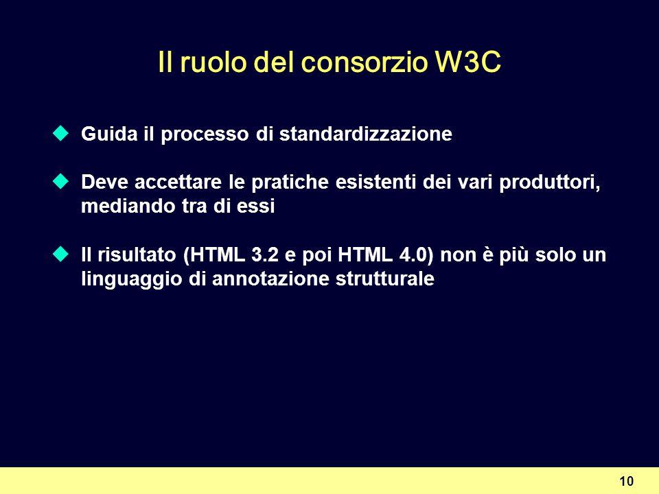 10 Il ruolo del consorzio W3C Guida il processo di standardizzazione Deve accettare le pratiche esistenti dei vari produttori, mediando tra di essi Il risultato (HTML 3.2 e poi HTML 4.0) non è più solo un linguaggio di annotazione strutturale