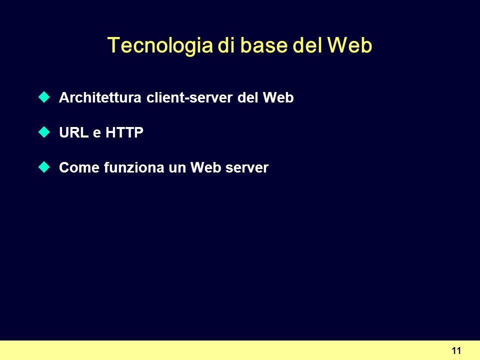 11 Tecnologia di base del Web Architettura client-server del Web URL e HTTP Come funziona un Web server