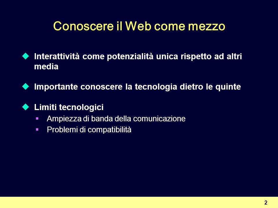 2 Conoscere il Web come mezzo Interattività come potenzialità unica rispetto ad altri media Importante conoscere la tecnologia dietro le quinte Limiti tecnologici Ampiezza di banda della comunicazione Problemi di compatibilità