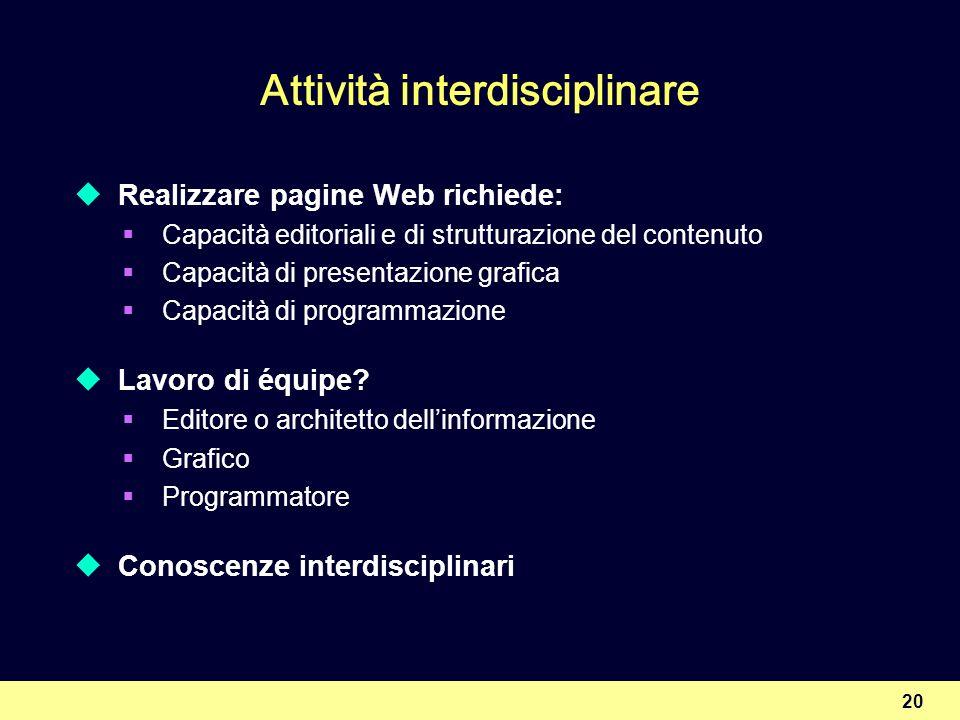 20 Attività interdisciplinare Realizzare pagine Web richiede: Capacità editoriali e di strutturazione del contenuto Capacità di presentazione grafica Capacità di programmazione Lavoro di équipe.