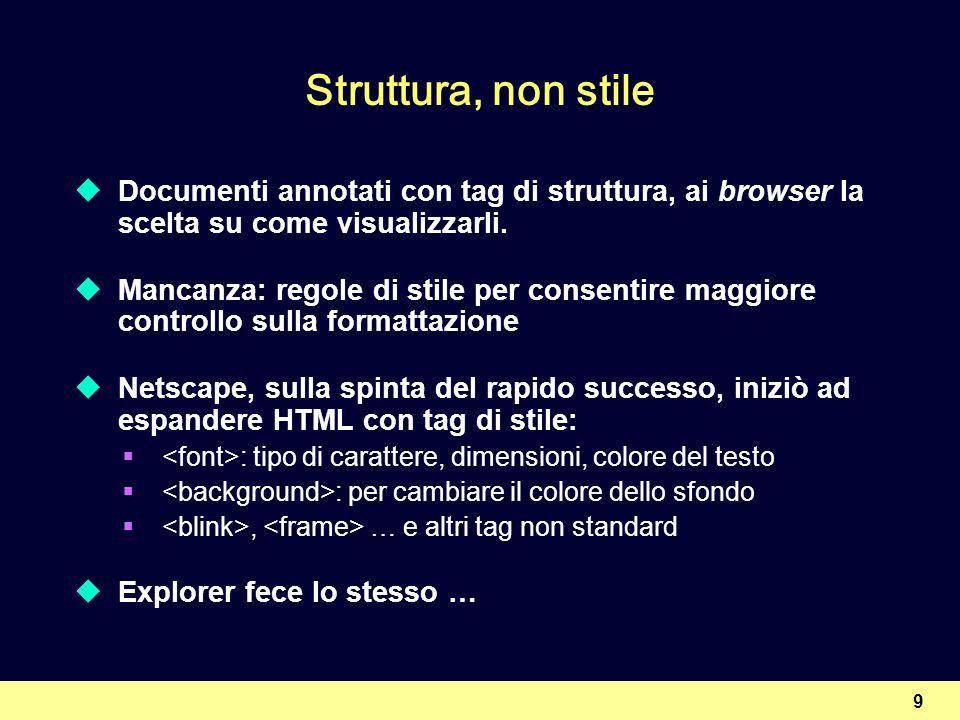 9 Struttura, non stile Documenti annotati con tag di struttura, ai browser la scelta su come visualizzarli. Mancanza: regole di stile per consentire m