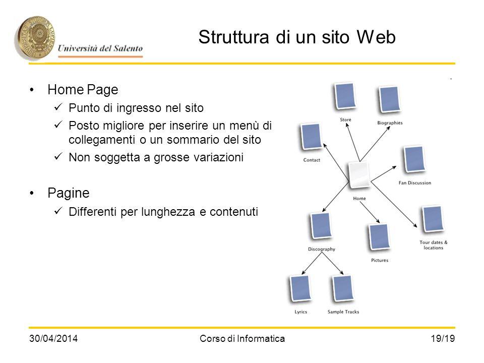 30/04/2014Corso di Informatica19/19 Struttura di un sito Web Home Page Punto di ingresso nel sito Posto migliore per inserire un menù di collegamenti