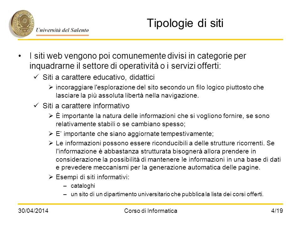 30/04/2014Corso di Informatica4/19 Tipologie di siti I siti web vengono poi comunemente divisi in categorie per inquadrarne il settore di operatività