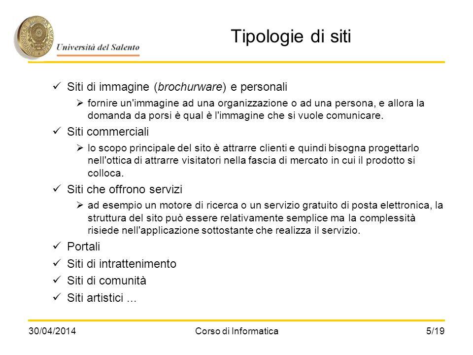 30/04/2014Corso di Informatica5/19 Tipologie di siti Siti di immagine (brochurware) e personali fornire un'immagine ad una organizzazione o ad una per