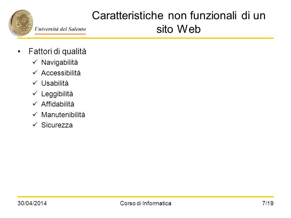 30/04/2014Corso di Informatica7/19 Caratteristiche non funzionali di un sito Web Fattori di qualità Navigabilità Accessibilità Usabilità Leggibilità A