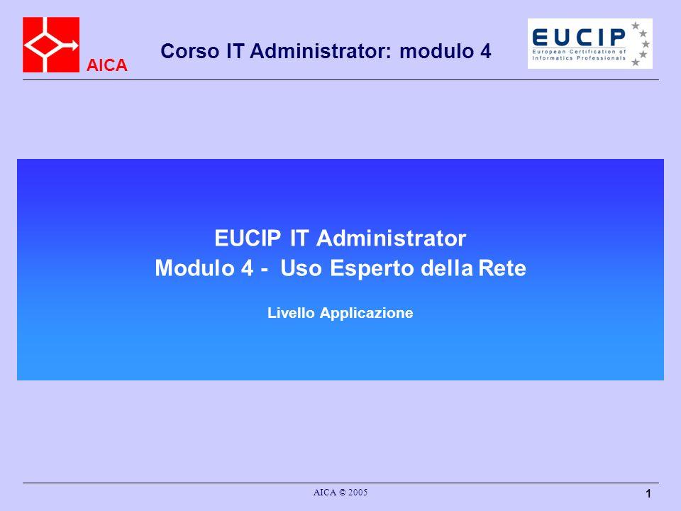 AICA Corso IT Administrator: modulo 4 AICA © 2005 32 La posta elettronica (2) SMTP è descritto in due documenti IETF –RFC 821: il modello di comunicazione, i comandi SMTP, i codici derrore –RFC 822: Il formato dei messaggi, il formato degli indirizzi, il formato delle date MIME è descritto da cinque documenti IETF: –RFC 2045, 2046, 2047, 2048, 2049 ESMTP è descritto da vari documenti IETF: –RFC 1869: un meccanismo generale di estensione di SMTP –RFC 1652, 1870, 1830, 2197, 1891, 1985, 2034, 2487: varie estensioni ad SMTP SMTP è stato aggiornato nell aprile 2001: –RFC 2821 e 2822 aggiornano risp.