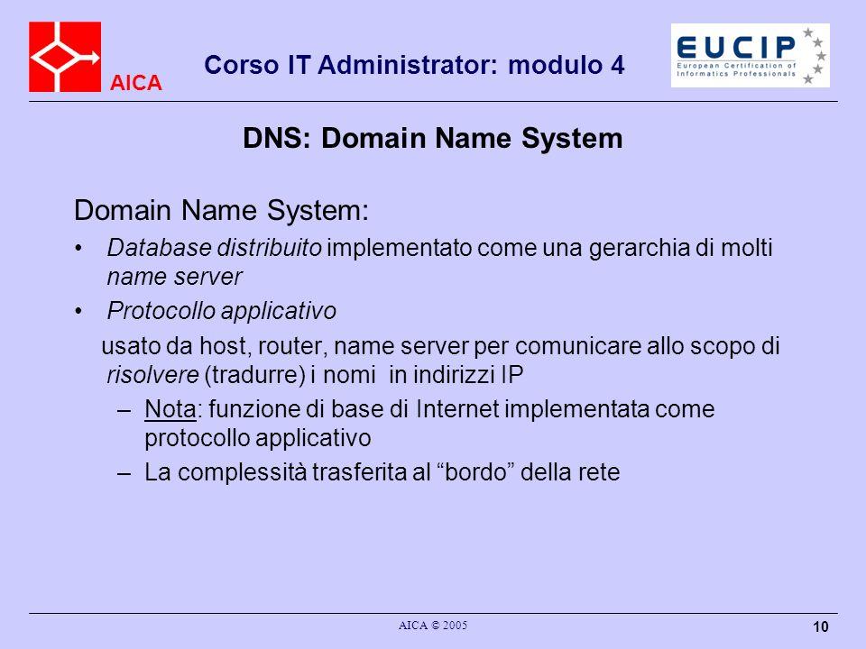 AICA Corso IT Administrator: modulo 4 AICA © 2005 10 DNS: Domain Name System Domain Name System: Database distribuito implementato come una gerarchia