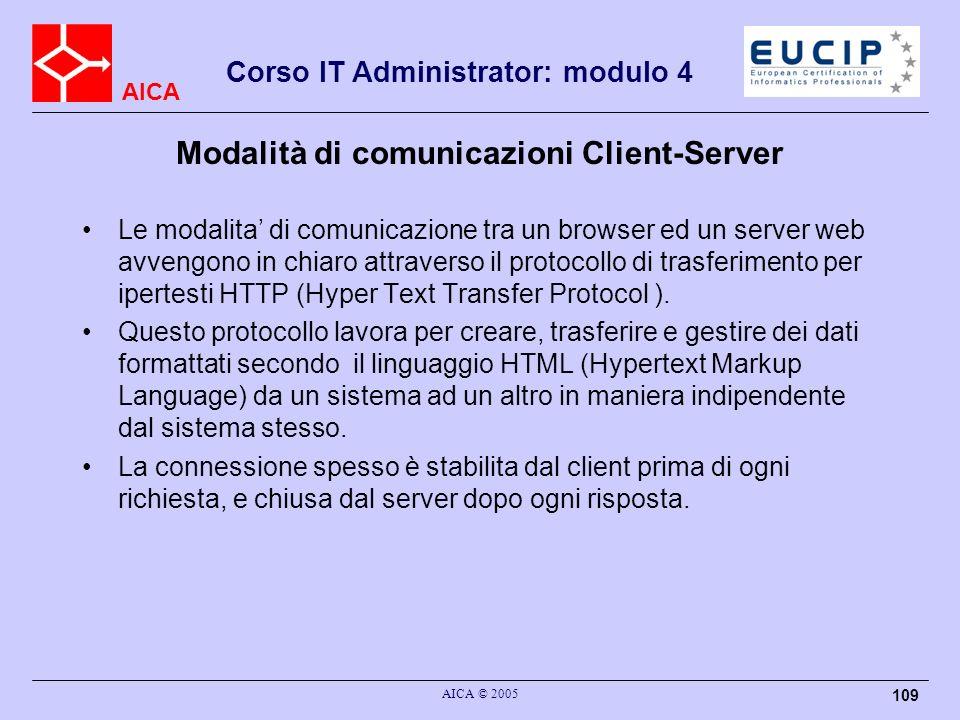 AICA Corso IT Administrator: modulo 4 AICA © 2005 109 Modalità di comunicazioni Client-Server Le modalita di comunicazione tra un browser ed un server