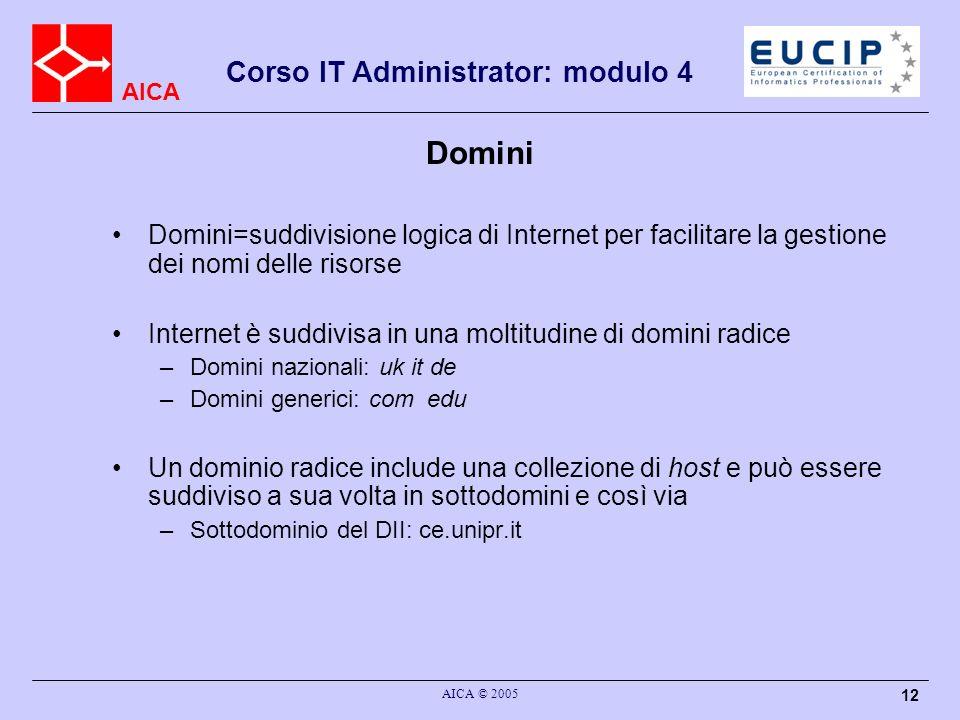 AICA Corso IT Administrator: modulo 4 AICA © 2005 12 Domini=suddivisione logica di Internet per facilitare la gestione dei nomi delle risorse Internet