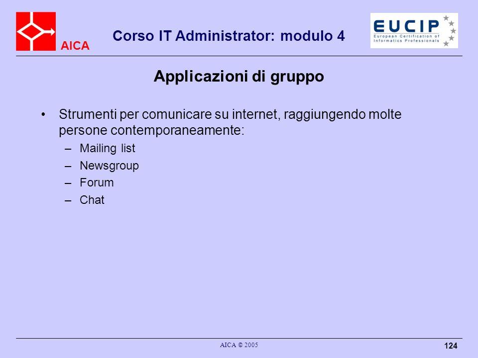 AICA Corso IT Administrator: modulo 4 AICA © 2005 124 Applicazioni di gruppo Strumenti per comunicare su internet, raggiungendo molte persone contempo