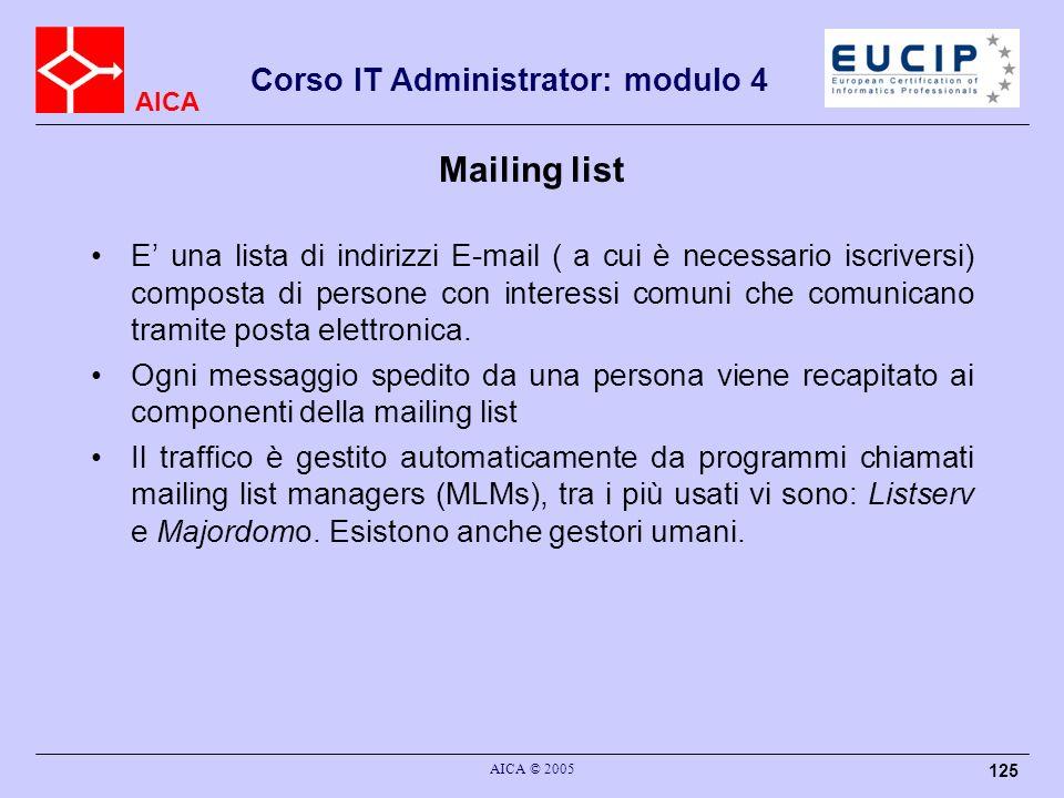 AICA Corso IT Administrator: modulo 4 AICA © 2005 125 Mailing list E una lista di indirizzi E-mail ( a cui è necessario iscriversi) composta di person