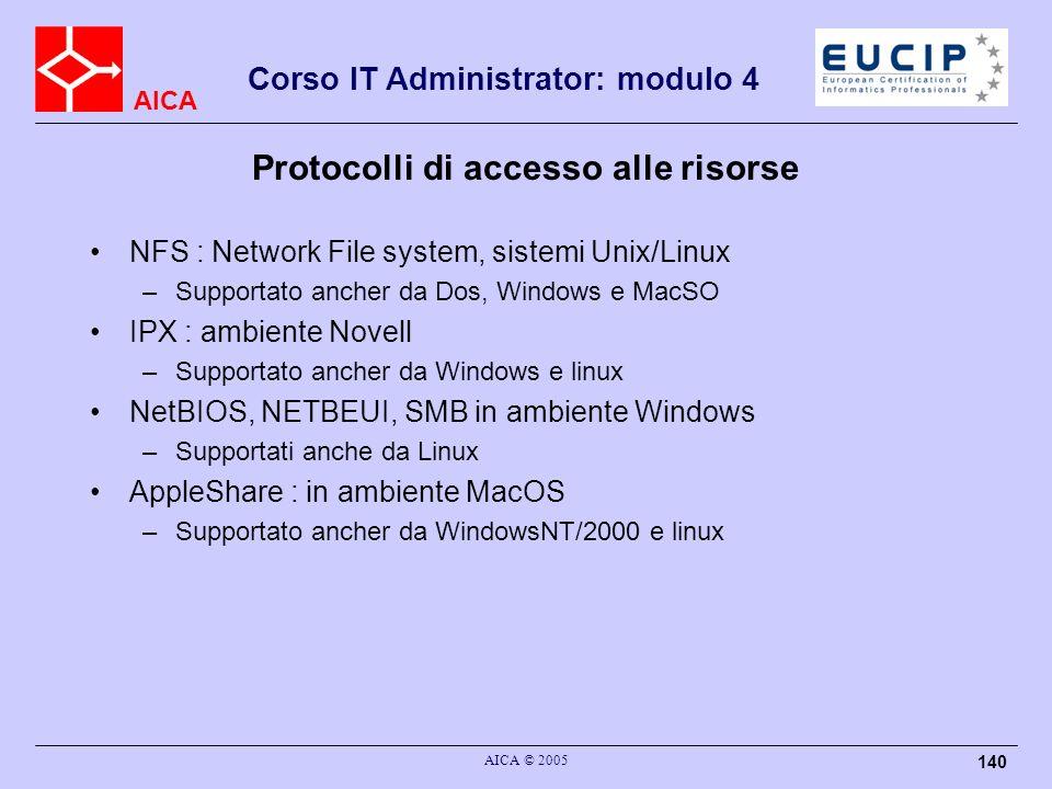 AICA Corso IT Administrator: modulo 4 AICA © 2005 140 Protocolli di accesso alle risorse NFS : Network File system, sistemi Unix/Linux –Supportato anc