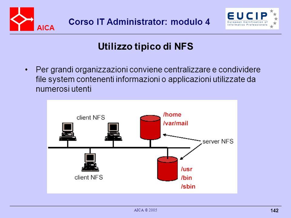 AICA Corso IT Administrator: modulo 4 AICA © 2005 142 Utilizzo tipico di NFS Per grandi organizzazioni conviene centralizzare e condividere file syste