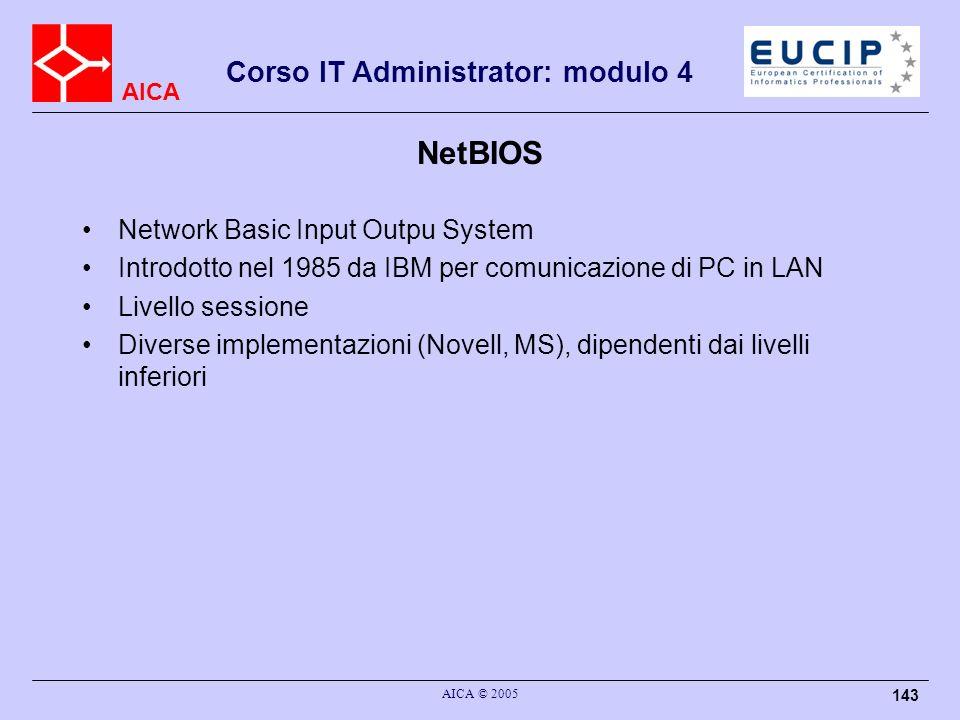 AICA Corso IT Administrator: modulo 4 AICA © 2005 143 NetBIOS Network Basic Input Outpu System Introdotto nel 1985 da IBM per comunicazione di PC in L