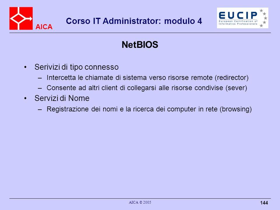 AICA Corso IT Administrator: modulo 4 AICA © 2005 144 NetBIOS Serivizi di tipo connesso –Intercetta le chiamate di sistema verso risorse remote (redir