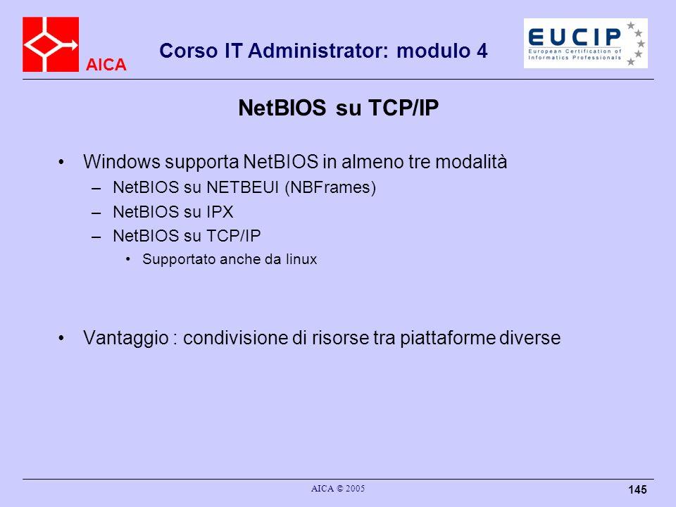 AICA Corso IT Administrator: modulo 4 AICA © 2005 145 NetBIOS su TCP/IP Windows supporta NetBIOS in almeno tre modalità –NetBIOS su NETBEUI (NBFrames)
