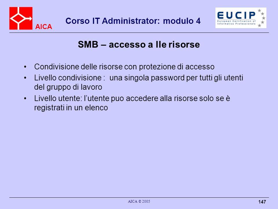 AICA Corso IT Administrator: modulo 4 AICA © 2005 147 SMB – accesso a lle risorse Condivisione delle risorse con protezione di accesso Livello condivi