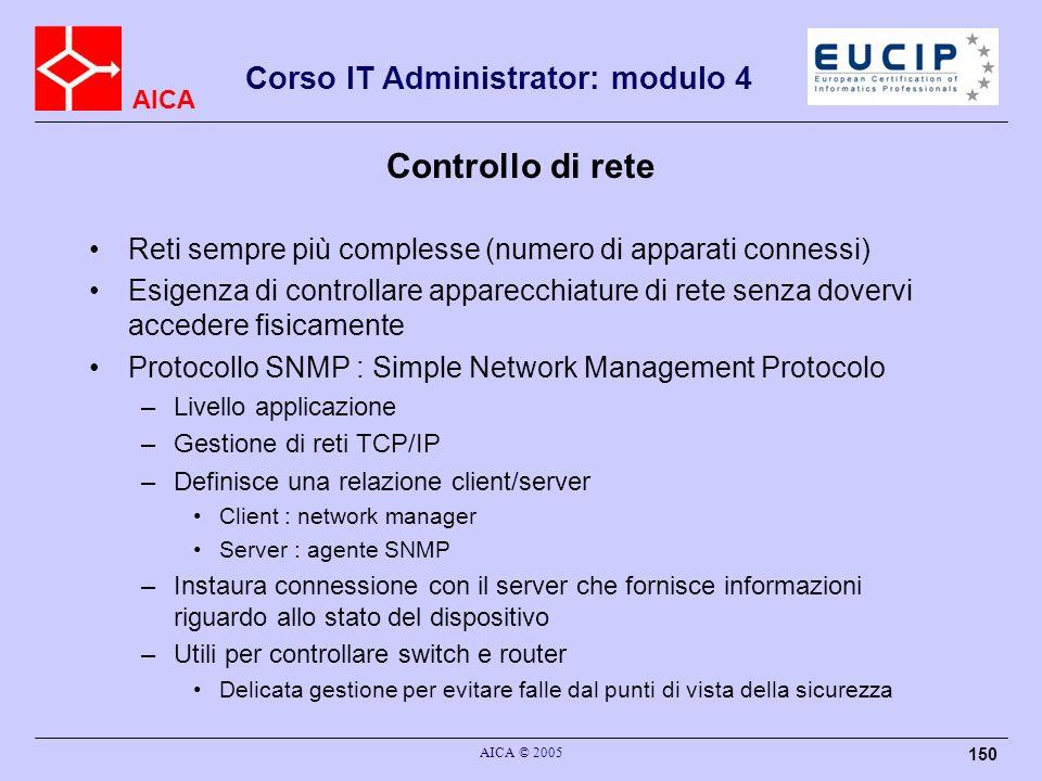 AICA Corso IT Administrator: modulo 4 AICA © 2005 150 Controllo di rete Reti sempre più complesse (numero di apparati connessi) Esigenza di controllar