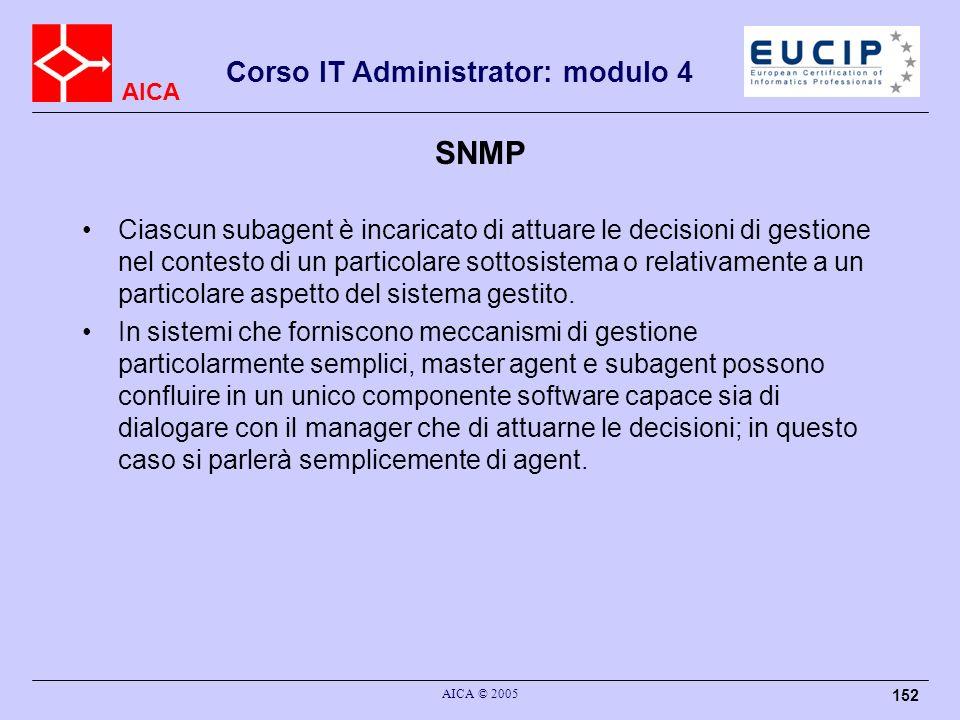 AICA Corso IT Administrator: modulo 4 AICA © 2005 152 SNMP Ciascun subagent è incaricato di attuare le decisioni di gestione nel contesto di un partic