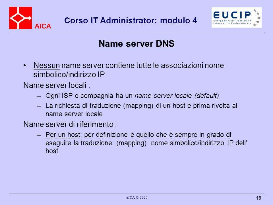 AICA Corso IT Administrator: modulo 4 AICA © 2005 19 Name server DNS Nessun name server contiene tutte le associazioni nome simbolico/indirizzo IP Nam