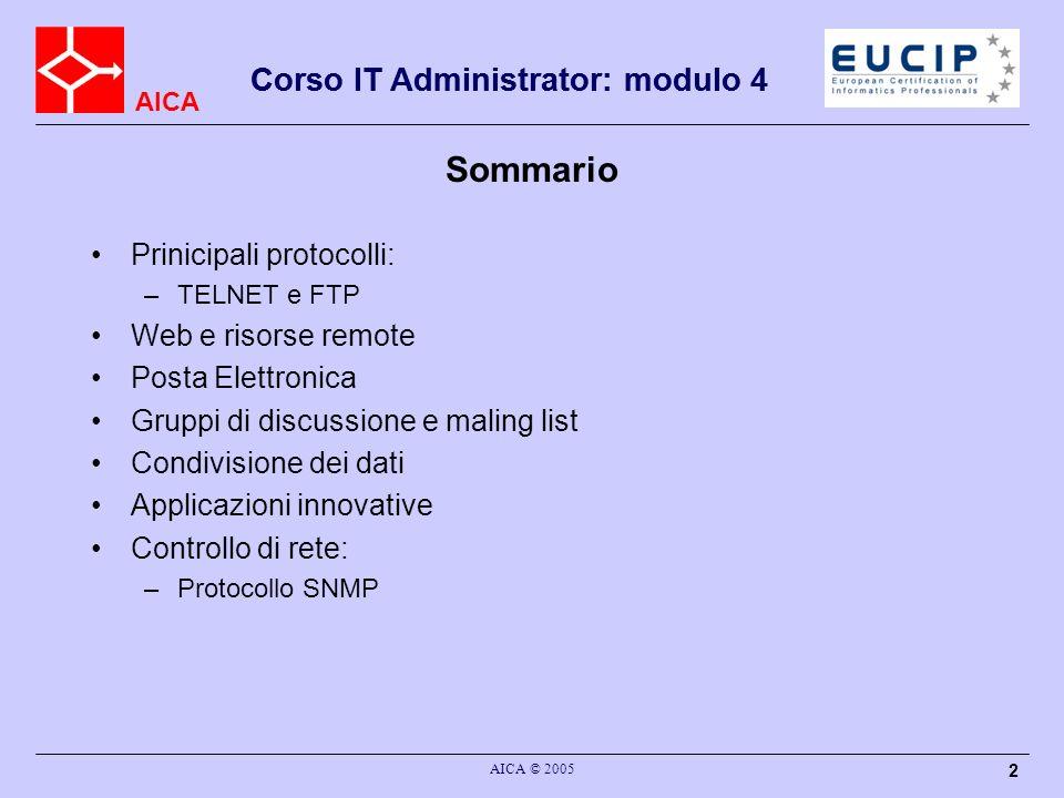 AICA Corso IT Administrator: modulo 4 AICA © 2005 143 NetBIOS Network Basic Input Outpu System Introdotto nel 1985 da IBM per comunicazione di PC in LAN Livello sessione Diverse implementazioni (Novell, MS), dipendenti dai livelli inferiori