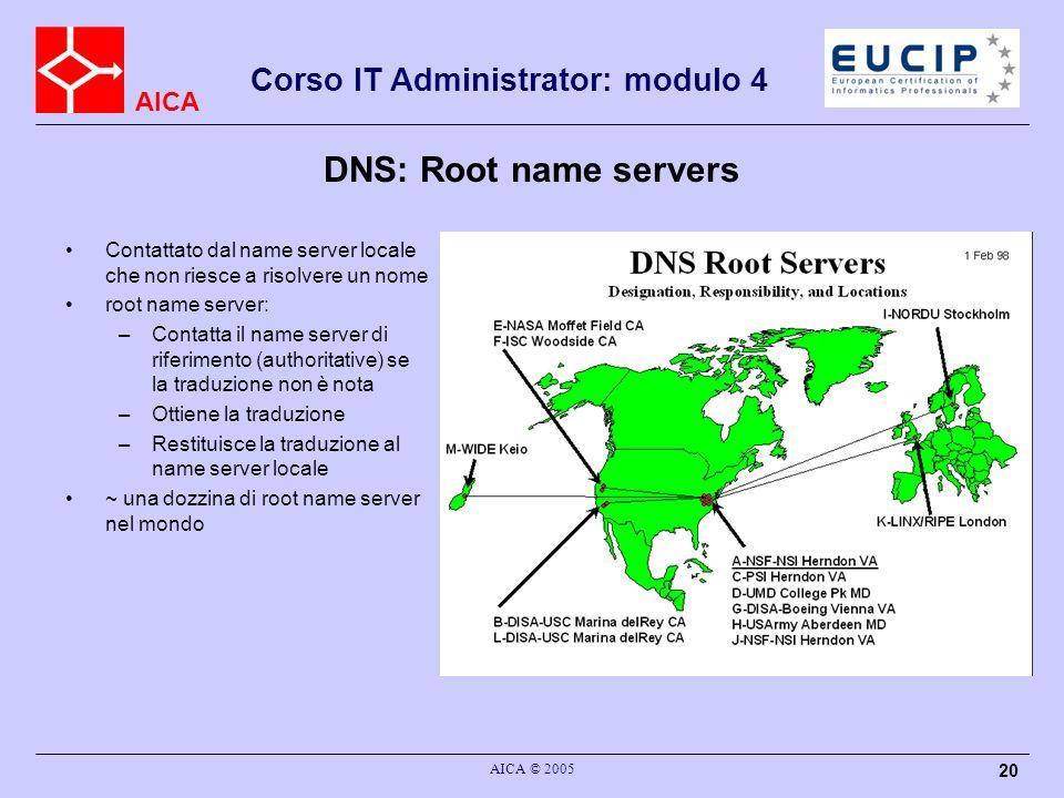 AICA Corso IT Administrator: modulo 4 AICA © 2005 20 DNS: Root name servers Contattato dal name server locale che non riesce a risolvere un nome root
