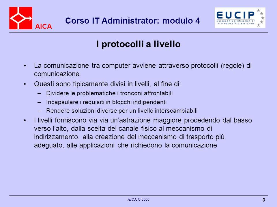 AICA Corso IT Administrator: modulo 4 AICA © 2005 4 I modelli ISO-OSI e TCP/IP Sono i due stack di protocolli più famosi, anche se OSI è rimasto sostanzialmente un modello su carta.