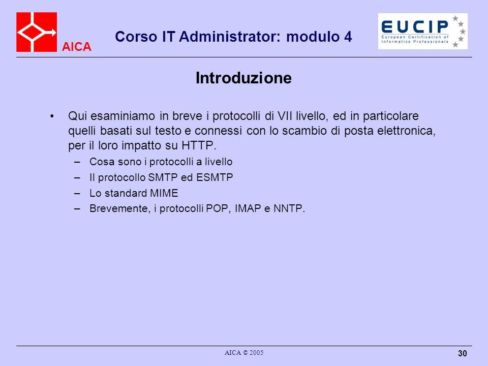 AICA Corso IT Administrator: modulo 4 AICA © 2005 30 Introduzione Qui esaminiamo in breve i protocolli di VII livello, ed in particolare quelli basati