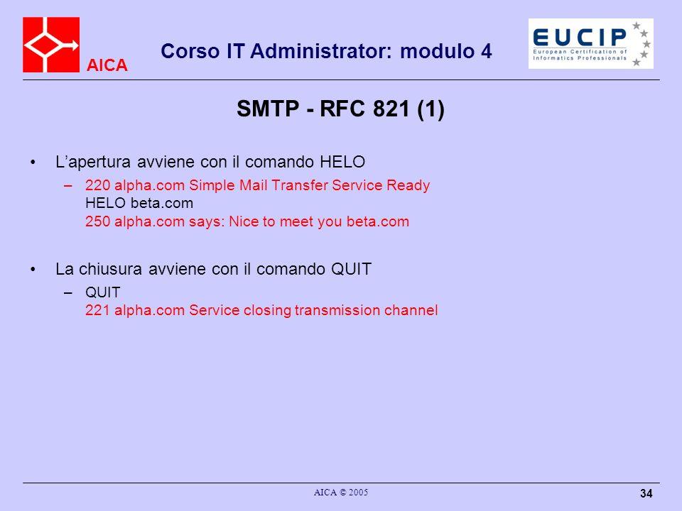 AICA Corso IT Administrator: modulo 4 AICA © 2005 34 SMTP - RFC 821 (1) Lapertura avviene con il comando HELO –220 alpha.com Simple Mail Transfer Serv