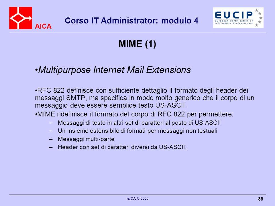AICA Corso IT Administrator: modulo 4 AICA © 2005 38 MIME (1) Multipurpose Internet Mail Extensions RFC 822 definisce con sufficiente dettaglio il for