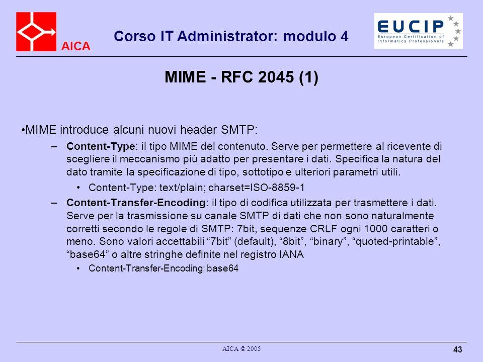 AICA Corso IT Administrator: modulo 4 AICA © 2005 43 MIME - RFC 2045 (1) MIME introduce alcuni nuovi header SMTP: –Content-Type: il tipo MIME del cont