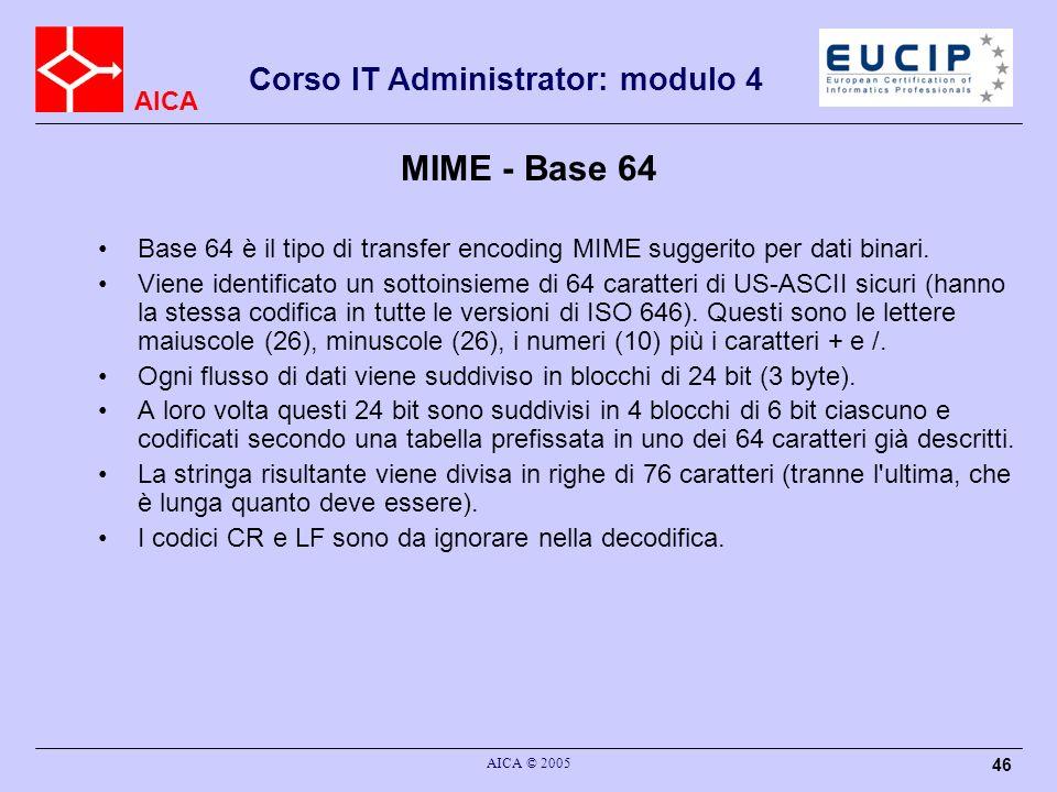 AICA Corso IT Administrator: modulo 4 AICA © 2005 46 MIME - Base 64 Base 64 è il tipo di transfer encoding MIME suggerito per dati binari. Viene ident