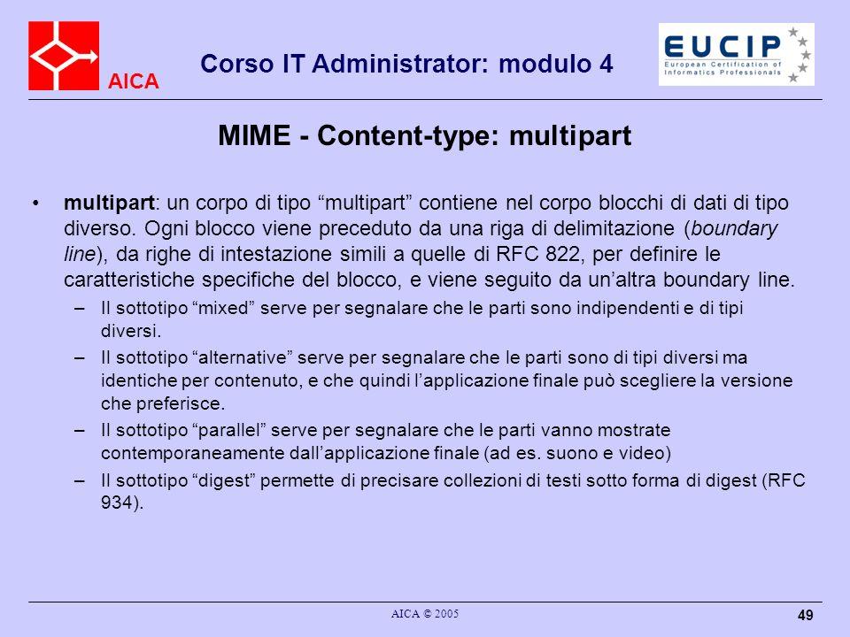 AICA Corso IT Administrator: modulo 4 AICA © 2005 49 multipart: un corpo di tipo multipart contiene nel corpo blocchi di dati di tipo diverso. Ogni bl