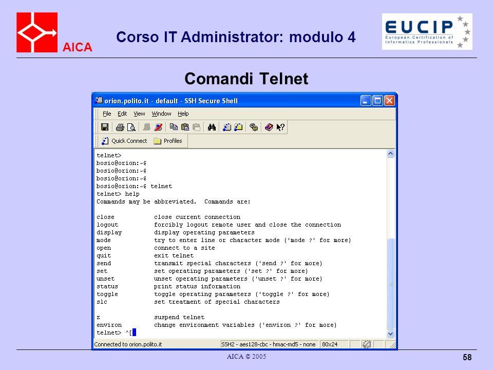 AICA Corso IT Administrator: modulo 4 AICA © 2005 58 Comandi Telnet