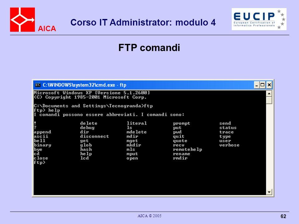 AICA Corso IT Administrator: modulo 4 AICA © 2005 62 FTP comandi