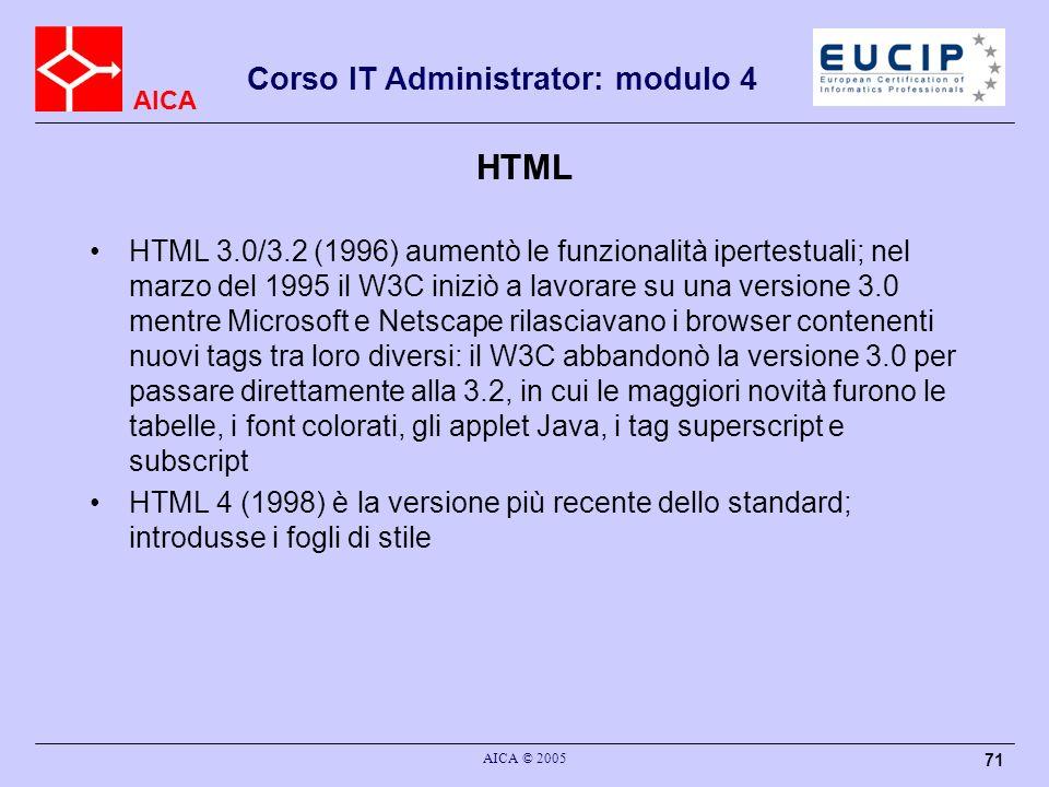 AICA Corso IT Administrator: modulo 4 AICA © 2005 71 HTML HTML 3.0/3.2 (1996) aumentò le funzionalità ipertestuali; nel marzo del 1995 il W3C iniziò a