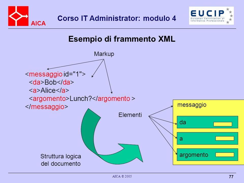 AICA Corso IT Administrator: modulo 4 AICA © 2005 77 Esempio di frammento XML Bob Alice Lunch? da a argomento messaggio Markup Elementi Struttura logi
