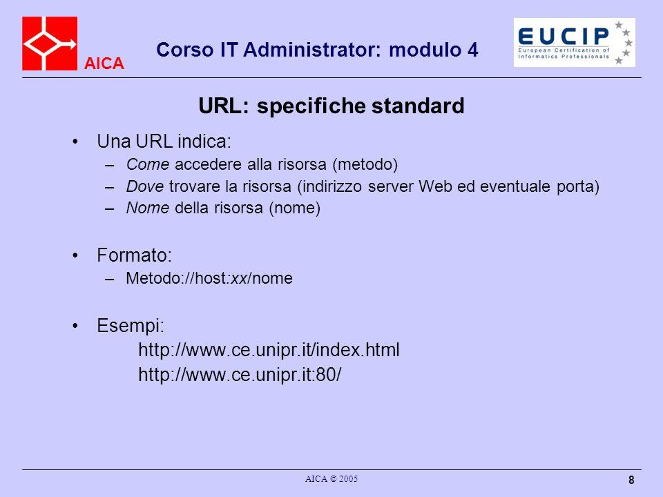 AICA Corso IT Administrator: modulo 4 AICA © 2005 29 Posta elettronica: protocolli standard Gli standard e i protocolli fondamentali sono: –il formato dei messaggi di posta (RFC 822), praticamente P-UA-UA –il formato MIME per la definizione del formato dei dati, che estende il formato dell RFC 822 –il protocollo SMTP (RFC 821), P-MTA-MTA usato anche in alcuni casi come P-UA-MTA ma sono da UA ad MTA –l protocollo POP (RFC 1939), quasi P-UA-MS solo per prelevare, da MS a UA –il protocollo IMAP (RFC 2060), P-UA-MS+P-UA-MTA