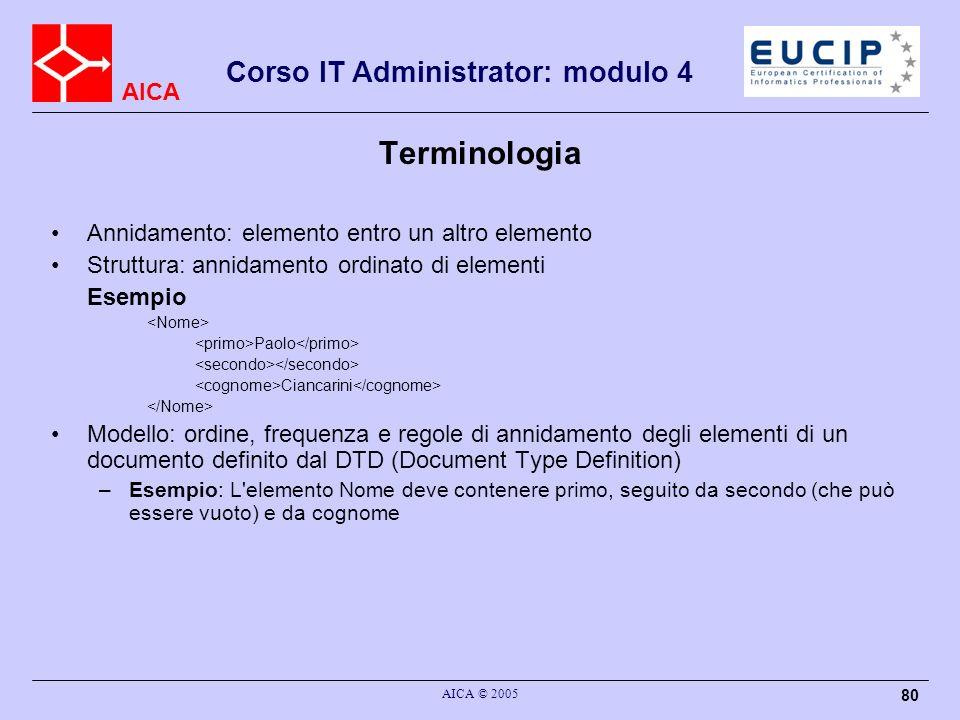 AICA Corso IT Administrator: modulo 4 AICA © 2005 80 Annidamento: elemento entro un altro elemento Struttura: annidamento ordinato di elementi Esempio