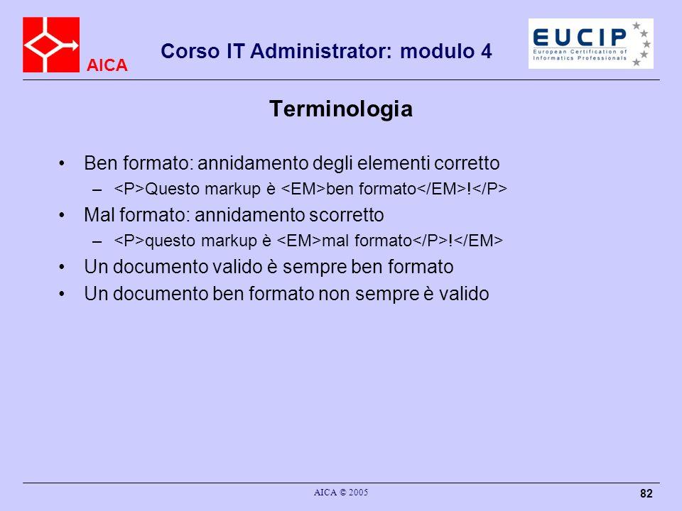 AICA Corso IT Administrator: modulo 4 AICA © 2005 82 Terminologia Ben formato: annidamento degli elementi corretto – Questo markup è ben formato ! Mal