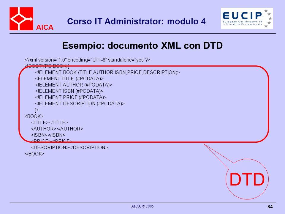 AICA Corso IT Administrator: modulo 4 AICA © 2005 84 <!DOCTYPE BOOK [ ]> DTD Esempio: documento XML con DTD