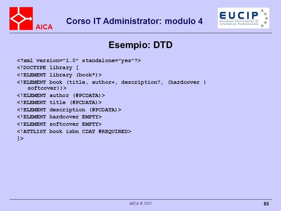 AICA Corso IT Administrator: modulo 4 AICA © 2005 85 Esempio: DTD <!DOCTYPE library [ ]>