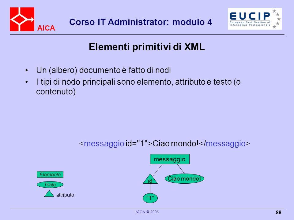 AICA Corso IT Administrator: modulo 4 AICA © 2005 88 Elementi primitivi di XML Un (albero) documento è fatto di nodi I tipi di nodo principali sono el