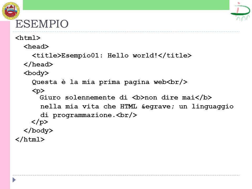 ESEMPIO Esempio01: Hello world.
