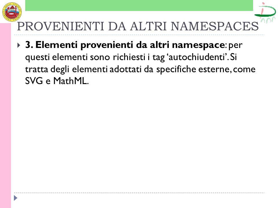 PROVENIENTI DA ALTRI NAMESPACES 3.