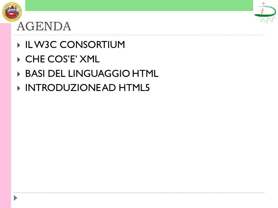 AGENDA IL W3C CONSORTIUM CHE COSE XML BASI DEL LINGUAGGIO HTML INTRODUZIONE AD HTML5