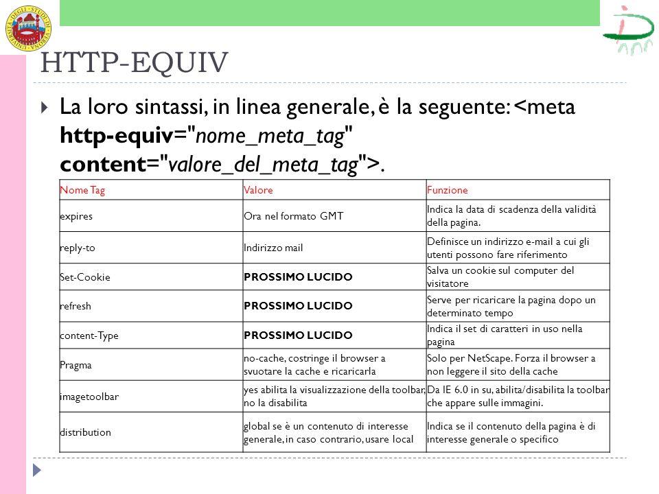 HTTP-EQUIV La loro sintassi, in linea generale, è la seguente:.