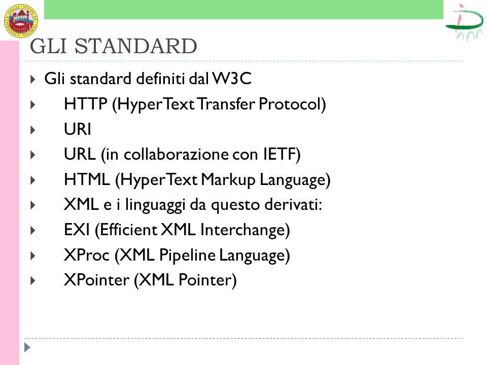 GLI STANDARD Gli standard definiti dal W3C HTTP (HyperText Transfer Protocol) URI URL (in collaborazione con IETF) HTML (HyperText Markup Language) XML e i linguaggi da questo derivati: EXI (Efficient XML Interchange) XProc (XML Pipeline Language) XPointer (XML Pointer)