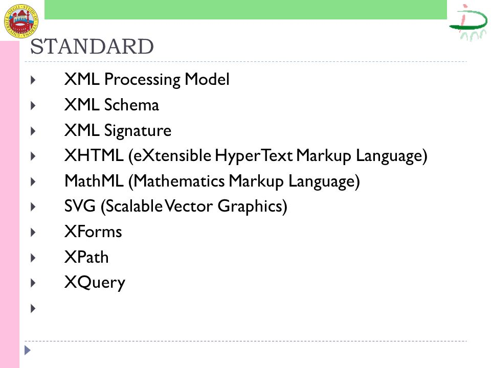 STANDARD CSS (Fogli di stile a cascata) XSLT (Extensible Stylesheet Language Transformations) CGI (Common Gateway Interface) DOM (Document Object Model) GRDDL (Gleaning Resource Descriptions from Dialects of Languages) OWL (Controllo dei contenuti) RDF (Controllo dei contenuti) SMIL (Synchronized Multimedia Integration Language) SML (Service Modeling Language)
